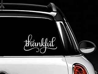 Decor Vinyl Store Thankful (White) Auto Decal, Sticker, Thanksgiving, Grateful, Window Sticker, Family, Christian, Religious 6