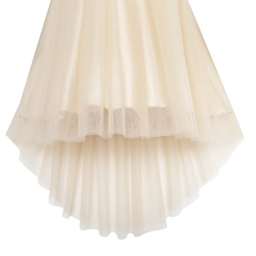 KB21 Girls Dress Beige Sequined Tulle Hi-lo Wedding Party Dress Size 7