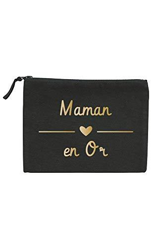 Trousse - Sac - Pochette - Maman En Or - Idée Cadeau Fête Des Mères (Noir)