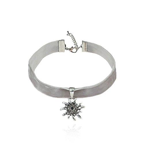 Alpenklunker Halsband Choker Kropfband Edelweiß viele Farben passend zum Dirndl Tracht Schmuckrausch Farbe Hell grau