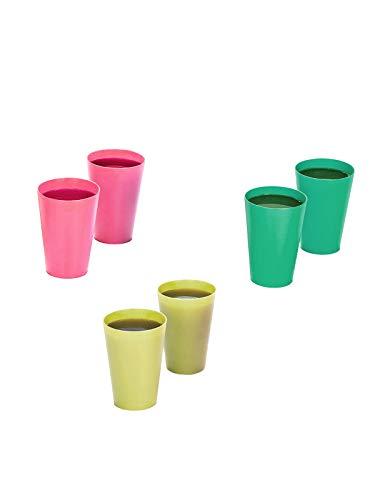 InddusHome Polycarbonate Water/Juice Glass - 6 Pieces, Multicolour, 300 ml