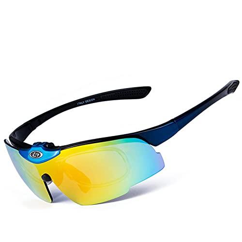 YYLI Gafas De Ciclismo Polarizadas, Protección UV 400 Gafas De Sol con 5 Lentes Intercambiables para Hombres Mujeres, Ciclismo Gafas para Corriendo Camping Y Actividades Al Aire Libre,E