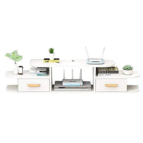 Brooke shop Mueble de TV flotante, soporte para muebles domésticos, caja de cable de partición flotante, para caja de cable de caja de TV por satélite con DVD/A / 120×24×28.5cm
