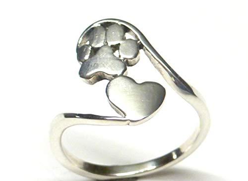 Anillo de plata de ley con forma de corazón y huella de perro, talla 56 – 17,8 – 7,25, regalo...