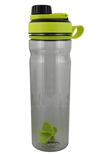 Rubbermaid Shaker Cup for Protein Shakes  28Ounce Protein Shaker Bottle for Mixing Whey Protein Powder Juice and Smoothies  BPAFree Comes with Finger Loop and Paddle Ball  GreenBlack