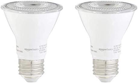 Amazon Basics 50W Equivalent 3000K White Dimmable 10 000 Hour Lifetime PAR20 LED Light Bulb product image