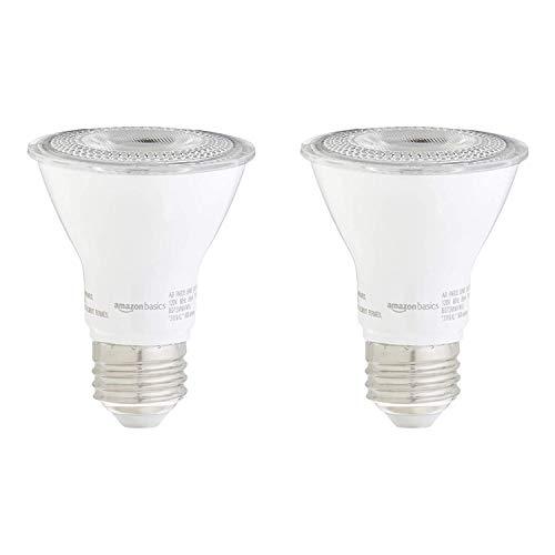 AmazonBasics 50W Equivalent, Warm White, Dimmable, 10,000 Hour Lifetime, PAR20 LED Light Bulb | 2-Pack