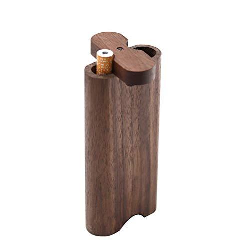 XIAOXIA Tubo de tabaco de madera Tubo de metal de limpieza zanja de la caja de cigarrillo de la nuez conjunto de madera tapa giratoria caja del cigarrillo de madera embudo accesorios de