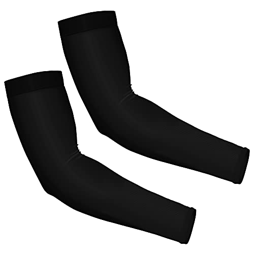Forhaha UV protection cooling arm sleeves, 2 pairs, UPF 50 sleeves for men and women, Arm Sleeves for cycling jogging, playing basketball, Black