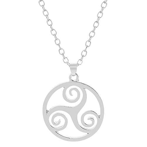 QAQV Teen Wolf Collar Símbolo Argent Triple Espiral Colgante Trinity Jewelry Mujer Hombre Cadena-Xl1722