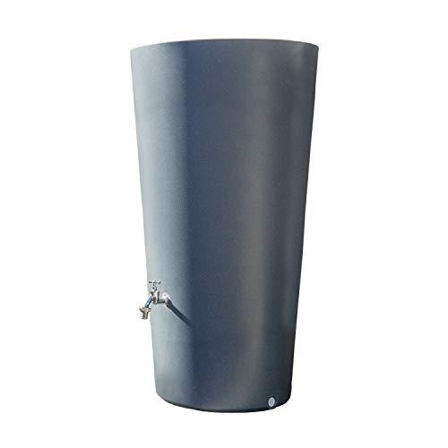 Regentonne grau Regenwassertank Rainbowl 210 Liter aus UV- und witterungsbeständigem Material. Regenfass bzw. Regenwassertonne mit kindersicherem Deckel und hochwertigen Messinganschlüssen