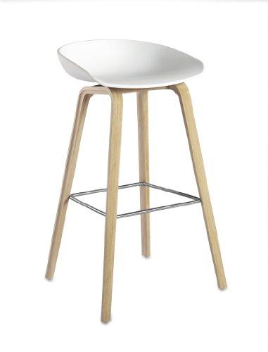 HAY barkruk About A Stool AAS 32 wit, klein = zithoogte 65 cm, totaal Hoogte 76 cm - eiken gezeefd, voetensteun roestvrij staal, Hee Welling, gezeefd eiken, roestvrij staal, polypropyleen