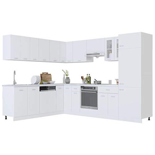 vidaXL 14-cz. zestaw szafek kuchennych, biały, płyta wiórowa