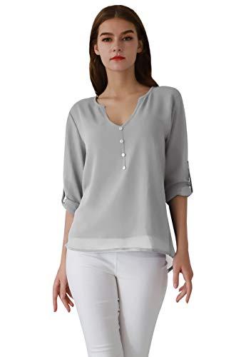 OMZIN Damen Chiffon Oberteile V Ausschnitt Langarm Bluse Henleyshirt Loose Top Grau M