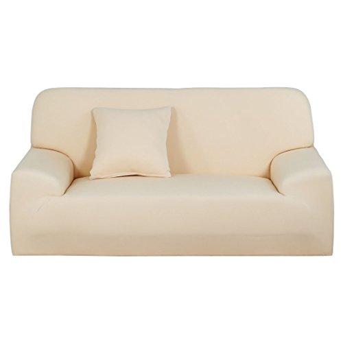YeVhear Stretch-Sofabezug für Sofas und Sessel, Universal-Möbelschutz aus elastischem Polyester mit einem Kissenbezug (beige, mittel)