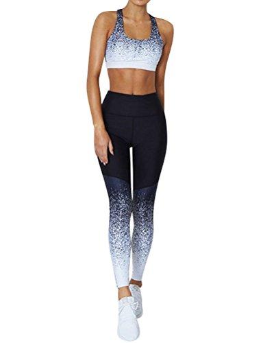 Frauen Sport Crop Oberteil Hohe Taille Leggings Gradient Yoga Set Fitness Trainingsanzug Strumpfhosen Leggings für Damen, M, 1-top+pant (schwarz/blau/weiß)