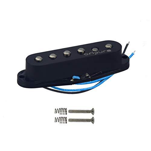 OriPure Pastilla intermedia escalonada Pole Piece Alnico 5 Pastilla de bobina simple (52 mm) para piezas de guitarra eléctrica Fender Stratocaster Style, Negro