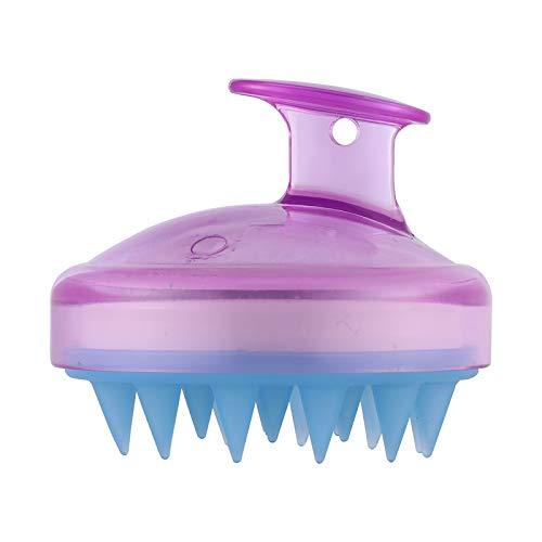 Pelo cuero cabelludo masajeador, Konesky pelo champú cepillo suave silicona cepillo pelo masaje limpieza cepillo para cabello profundo limpieza cabeza músculo relax (Purple) ⭐