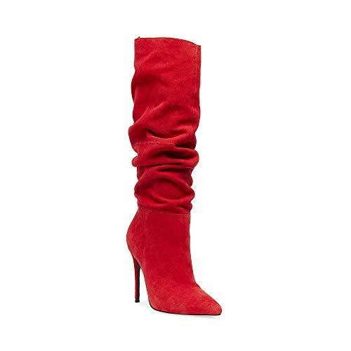 Steve Madden Dakota Mid Heel Slouchy Stiletto Boot RED Suede Dress High Heel (7, RED Suede)