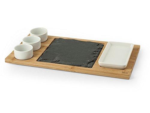 H&H Ardesia & Bamboo, Antipastiera, Set 6 pezzi, Nero/Bianco, 22x40 cm