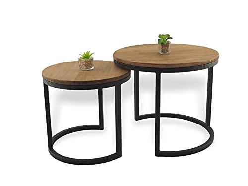 Lumarc Modena, Set di due Tavolini da Salotto in Legno Massello di Faggio Naturale dal Design Moderno Industriale Minimalista, Rotondo, Ø50x43 cm / Ø40x38 cm (Nero)