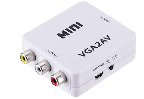 Mini convertidor de vídeo HD VGA a 2AV Caja convertidor AV RCA CVBS a convertidor de vídeo VGA Conversor con Audio de 3,5mm a PC HDTV convertidor