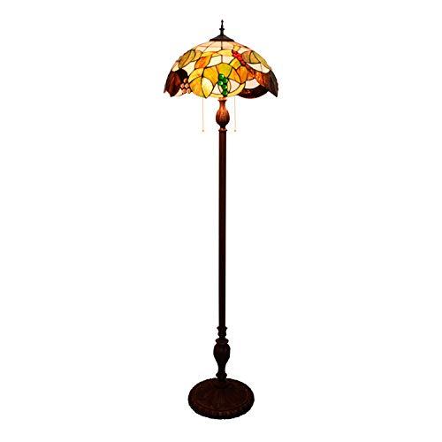 Lámpara de pie 16- 'Tiffany romántico estilo pastoral marrón uva manchada en serie flores lámpara de pie para estudiar sala de estar dormitorio habitación decoración Luces bellamente diseñadas para il