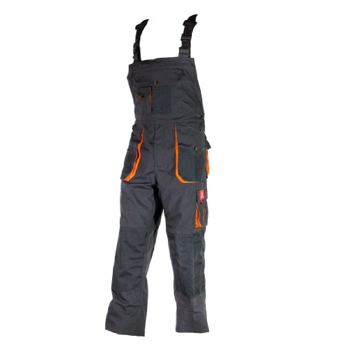 Urgent Latzhose Schutzhose Arbeitskleidung Arbeitshose Farbeauswahl URG-A Grau 52, Graphit/Orange