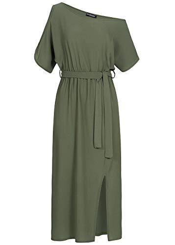 Styleboom Fashion® Damen Kleid T-Shirt Dress Belt Sommerkleid Military grün, Gr:XL