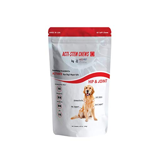 MediVet Biologics Dog Joint Supplement for Hip & Joint Pain Relief Arthritis with Glucosamine, Chondroitin + MSM - Actistem Mobility with Vitamin C & NAC - 60 Count