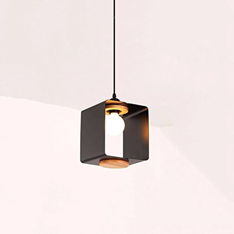 Nordic Einfache Moderne Platz Eisen Kronleuchter Schlafzimmer Nacht Deckenleuchte Persnlichkeit Kreative Platz Massivholz Pendelleuchte (Farbe   Schwarz)