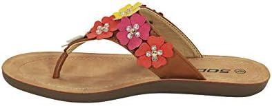SODA HOLDER ~ Women Flower Gems Rhinestone Flip Flops Flat Fashion Sandal