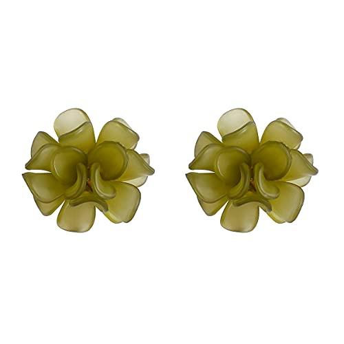 tggh Pendientes de resina de flores coreanas de resina dulce de vacaciones pendientes de flores para mujer, pendientes de acrílico elegantes (color metálico: verde)
