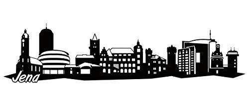 Samunshi® JENA Skyline Wandtattoo Sticker Aufkleber Wandaufkleber City Gedruckt JENA 120x30cm schwarz