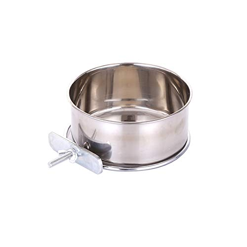 Pet Food Water Bowl with Clamp Holder Stainless Steel Coop Cup Hanging Feeder for Dog Bird Parrot Cat Rabbit (M)