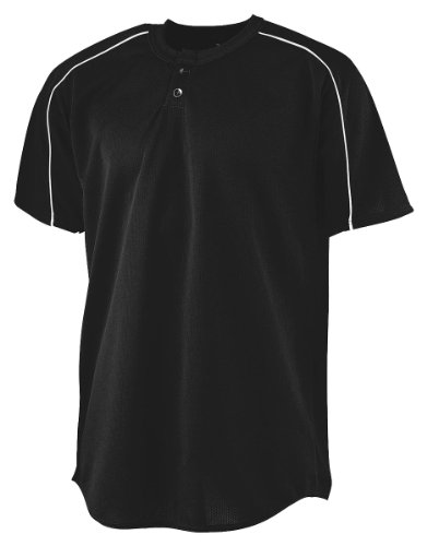 Augusta Sportswear Herren Wicking Two-Button Baseball Jersey 2XL Black/White Hemd, schwarz/weiß, XX-Large