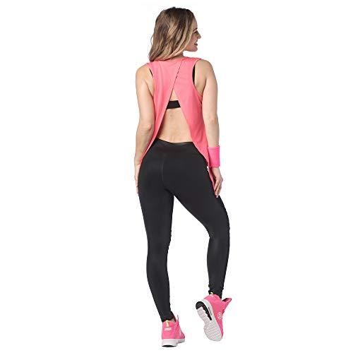 Zumba Tank-Top für Damen, sexy, offener Rücken, atmungsaktiv, für Workout -  Pink -  Groß