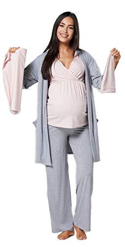 HAPPY MAMA Mujer Pijama premamá y Lactancia y Conjunto bebé 1270 (Polvo Rosa & Mezcla Grises, 40-42, L)