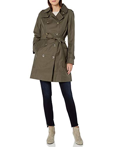 LONDON FOG Women's Double Breasted Trench Coat with Removable Hood, Fatigue Green, Medium