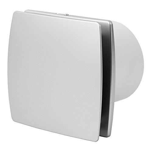 Europlast T100HTI Afvoerventilator voor de badkamer, met vochtsensor en timer, stille ventilator, 100 mm, roestvrij