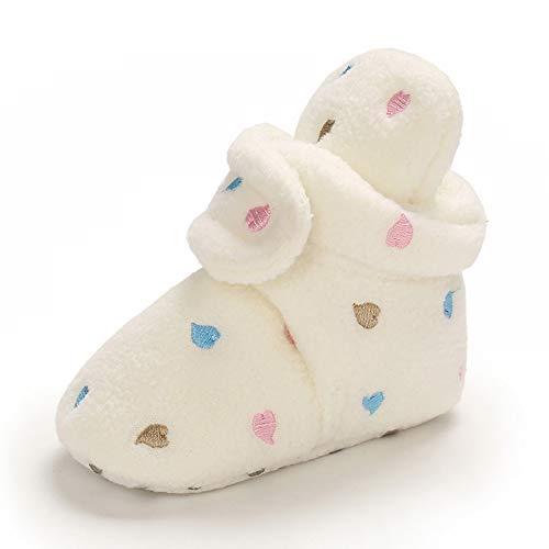 MASOCIO Botas Bebe Niño Niña Invierno Botines Botitas Bebé Recién Nacido Zapatillas Casa Calentar Zapatos Primeros Pasos Talla 18 Blanco 0-6 Meses