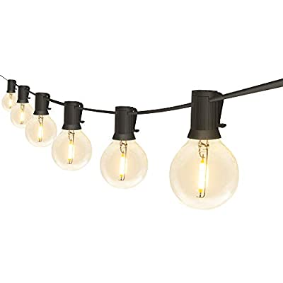 FungLam Outdoor String Lights, 25Ft G40 Globe String Lights with 25+2 Plastic Clear Bulbs, UL Listed Backyard Patio Lights, Hanging Waterproof Lights for Indoor/Outdoor Commercial Decor (1 Pack)