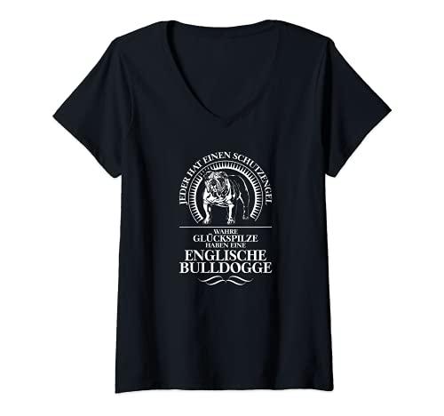 Damen Englische Bulldogge Schutzengel Hund Hunde Hundespruch T-Shirt mit V-Ausschnitt