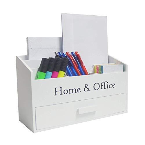 DRULINE Briefbox Organizer Schreibtischorganizer Aufbewahrungsbox 6 Fächer Kompakt Briefablage Büroablage Stifthalter mit Schublade Stauraum aus Holz im Shabby-Chic Stil | L x B x H 30 x 12 x 18 cm | Weiß
