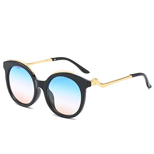 QINGZHOU Gafas De Sol,Gafas De Moda De Mujer Con Montura Redonda Cartier, Montura Negra Sobre Té Azul