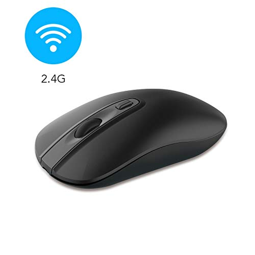 cimetech Wireless Computer Mouse, Slim Cordless Mouse for Laptop Ergonomic Optical with Nano Receiver USB Mouse for Laptop, Deskbtop, MacBook (Bat Black)