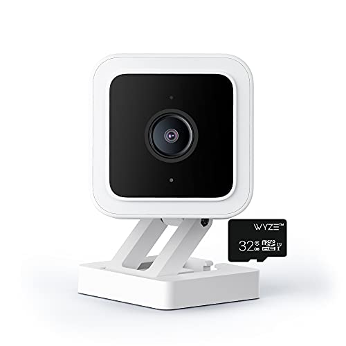 WYZE Cam v3 Wired 1080p Indoor/Outdoor Pet Monitoring Camera, Color Night Vision, Works with Alexa Google Assistant IFTTT with WYZE 32GB MicroSD Card (V3+SD)