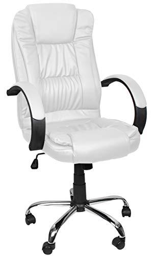 MALATEC Bequeme Bürostuhl Chefsessel Drehstuhl Ergonomischer Schreibtischstuhl mit Kunstlederbezug Schwarz/Weiß/Braun 8983, Farbe:Weiß