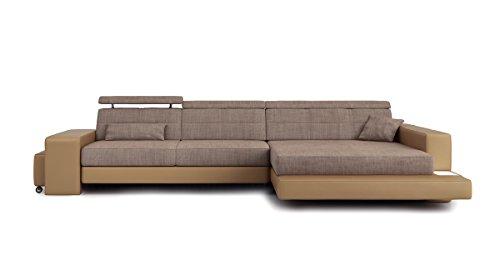 Bullhoff by Giovanni Capellini Sofa Couch Leder Wohnlandschaft + Stoff modern Ecksofa Eckcouch Designersofa L-Form mit LED-Licht Beleuchtung Imola III