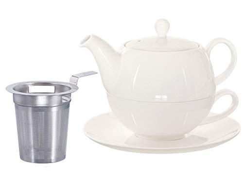 Buchensee Tea for One mit Sieb Lena 500ml aus Crystal Bone China Porzellan in fein-cremigem Weiß. Teekanne + Teetasse + Untersetzer + Sieb